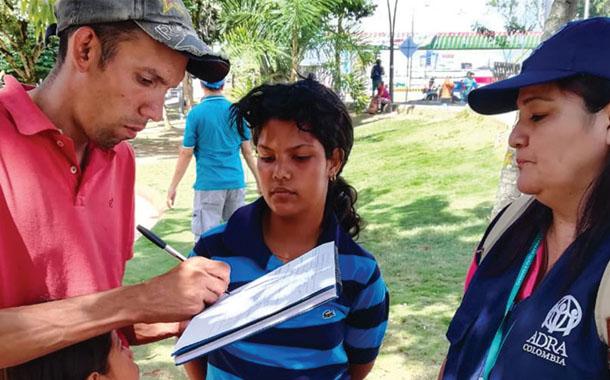 아드라 콜롬비아, 베네수엘라 난민 수천 명에게 도움 제공